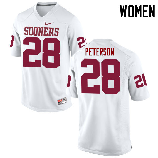 Women Oklahoma Sooners #28 Adrian Peterson College Football Jerseys Game-White