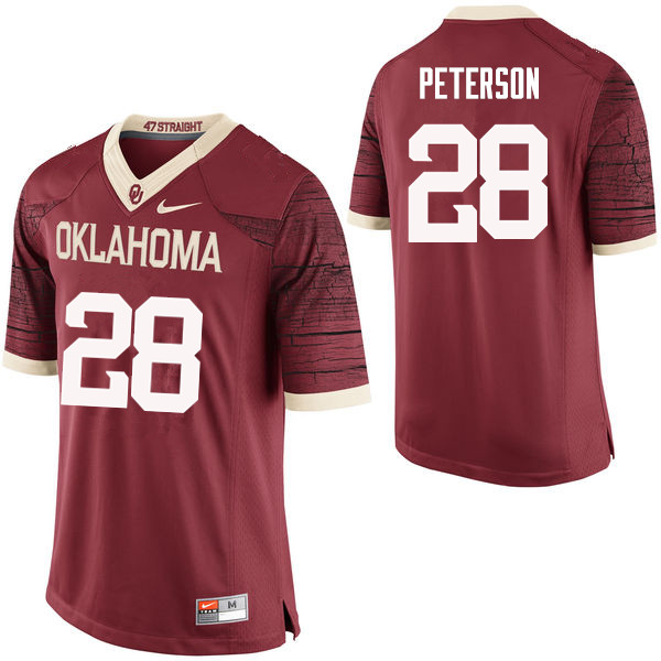Men Oklahoma Sooners #28 Adrian Peterson College Football Jerseys Limited-Crimson