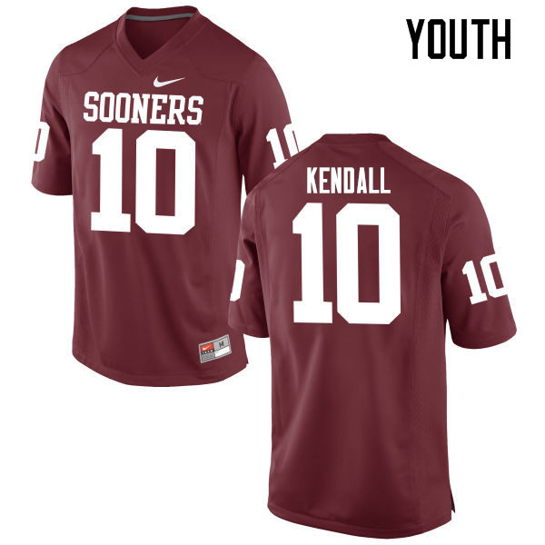 Youth Oklahoma Sooners #10 Austin Kendall College Football Jerseys Game-Crimson