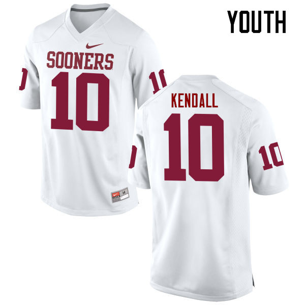Youth Oklahoma Sooners #10 Austin Kendall College Football Jerseys Game-White