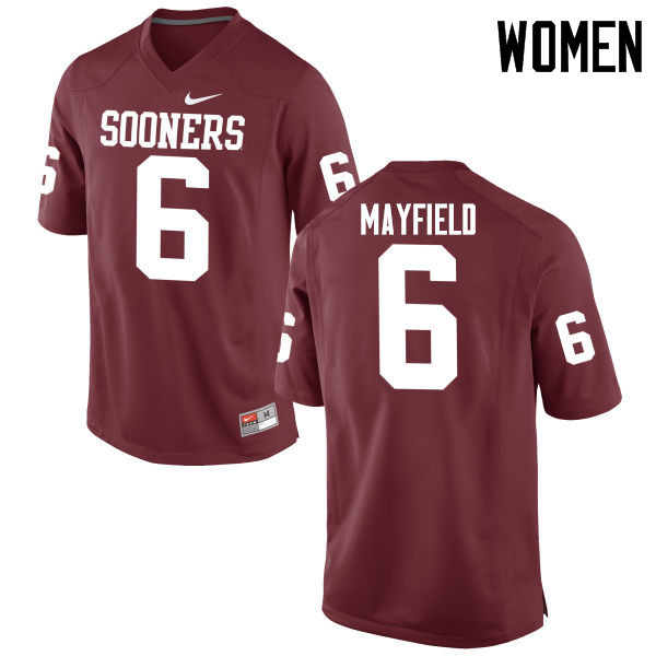 Women Oklahoma Sooners #6 Baker Mayfield College Football Jerseys Game-Crimson