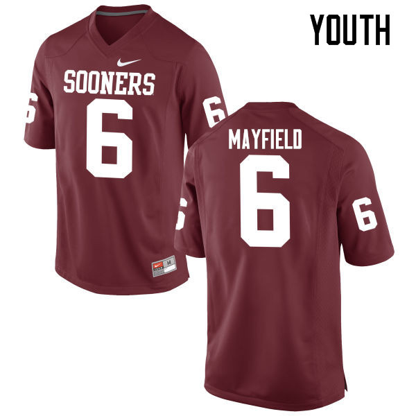 Youth Oklahoma Sooners #6 Baker Mayfield College Football Jerseys Game-Crimson