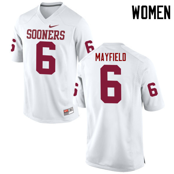 Women Oklahoma Sooners #6 Baker Mayfield College Football Jerseys Game-White