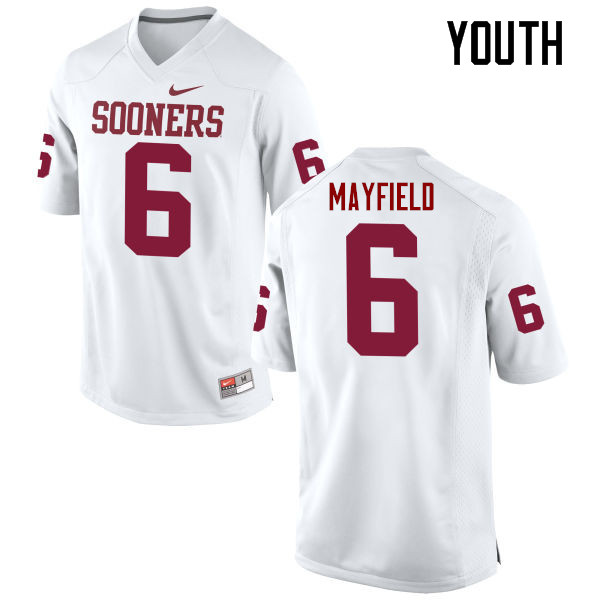 Youth Oklahoma Sooners #6 Baker Mayfield College Football Jerseys Game-White