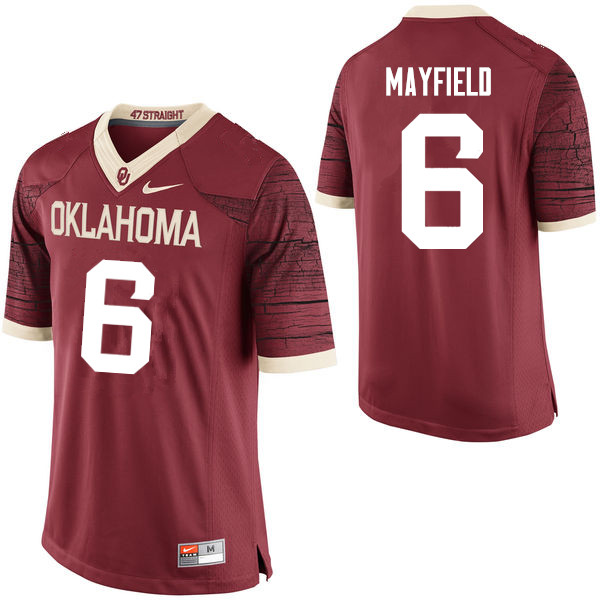 Men Oklahoma Sooners #6 Baker Mayfield College Football Jerseys Limited-Crimson
