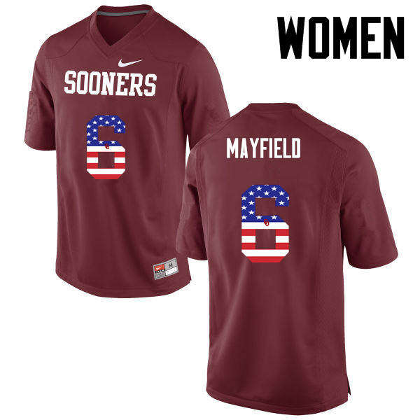 Women Oklahoma Sooners #6 Baker Mayfield College Football USA Flag Fashion Jerseys-Crimson