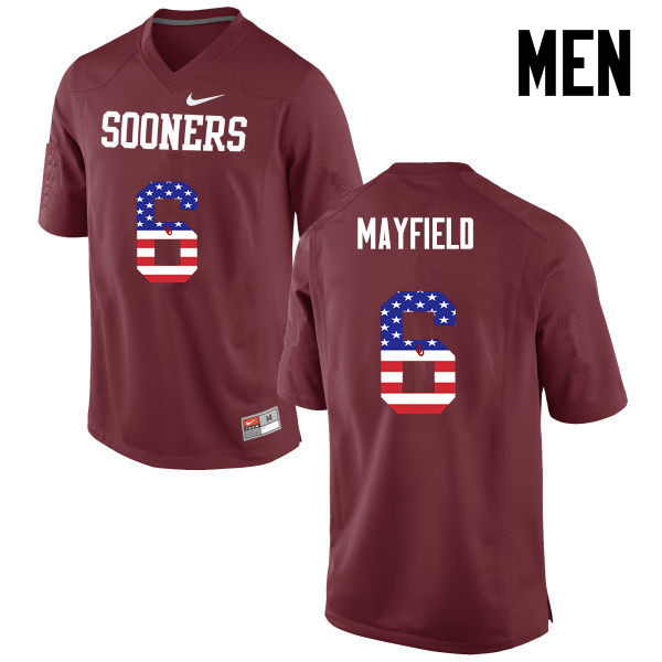 Men Oklahoma Sooners #6 Baker Mayfield College Football USA Flag Fashion Jerseys-Crimson