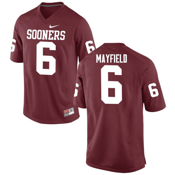Men Oklahoma Sooners #6 Baker Mayfield College Football Jerseys Game-Crimson