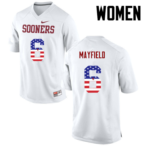 Women Oklahoma Sooners #6 Baker Mayfield College Football USA Flag Fashion Jerseys-White
