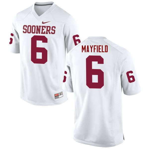 Men Oklahoma Sooners #6 Baker Mayfield College Football Jerseys Game-White