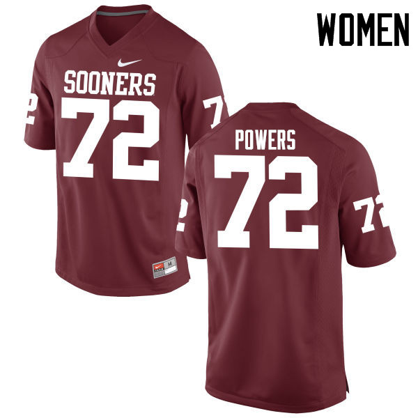 Women Oklahoma Sooners #72 Ben Powers College Football Jerseys Game-Crimson