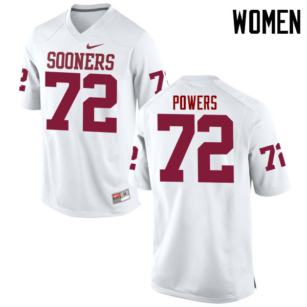 Women Oklahoma Sooners #72 Ben Powers College Football Jerseys Game-White