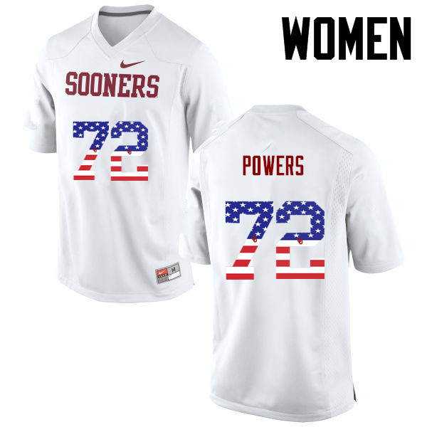 Women Oklahoma Sooners #72 Ben Powers College Football USA Flag Fashion Jerseys-White