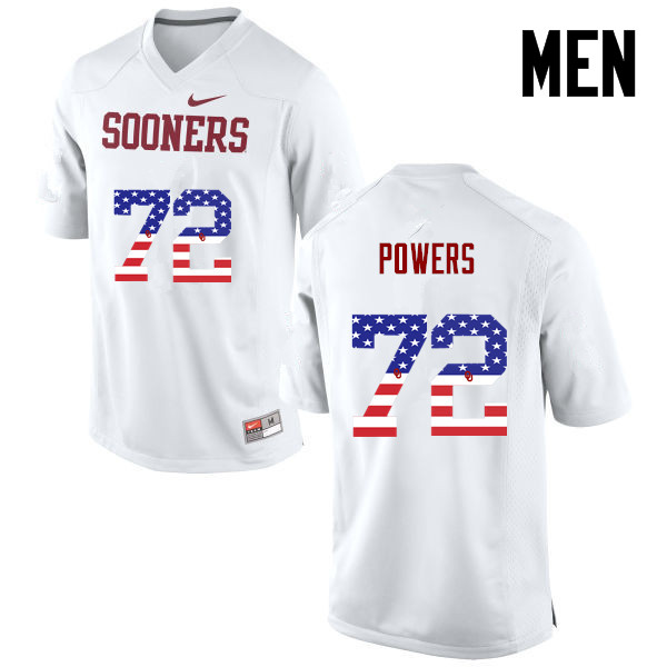 Men Oklahoma Sooners #72 Ben Powers College Football USA Flag Fashion Jerseys-White