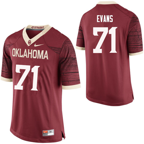 Men Oklahoma Sooners #71 Bobby Evans College Football Jerseys Limited-Crimson