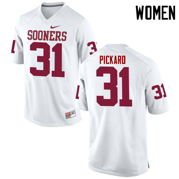 Women Oklahoma Sooners #31 Braxton Pickard College Football Jerseys Game-White