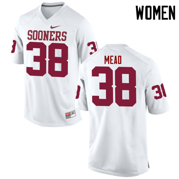 Women Oklahoma Sooners #38 Bryan Mead College Football Jerseys Game-White
