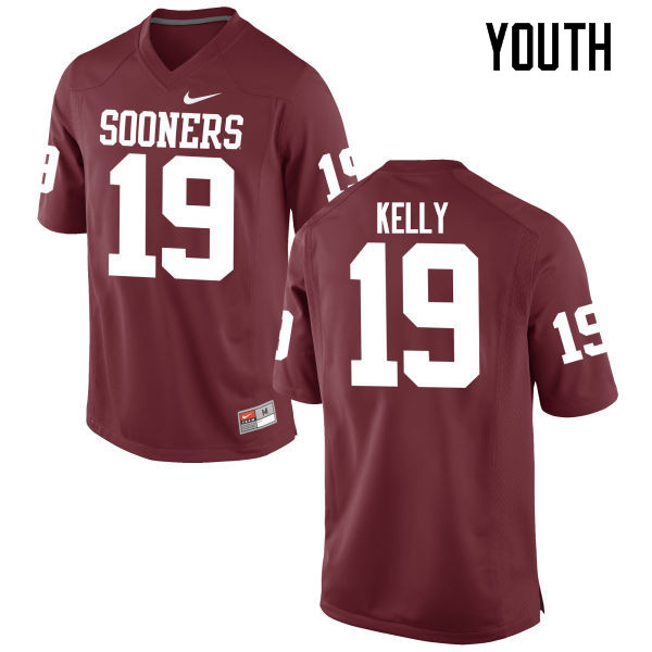 Youth Oklahoma Sooners #19 Caleb Kelly College Football Jerseys Game-Crimson