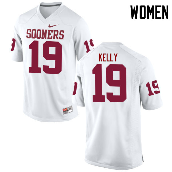 Women Oklahoma Sooners #19 Caleb Kelly College Football Jerseys Game-White