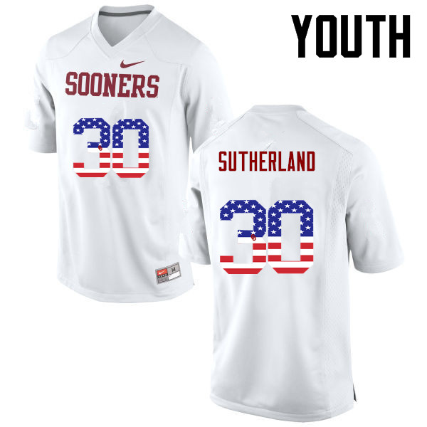 Youth Oklahoma Sooners #30 Calum Sutherland College Football USA Flag Fashion Jerseys-White