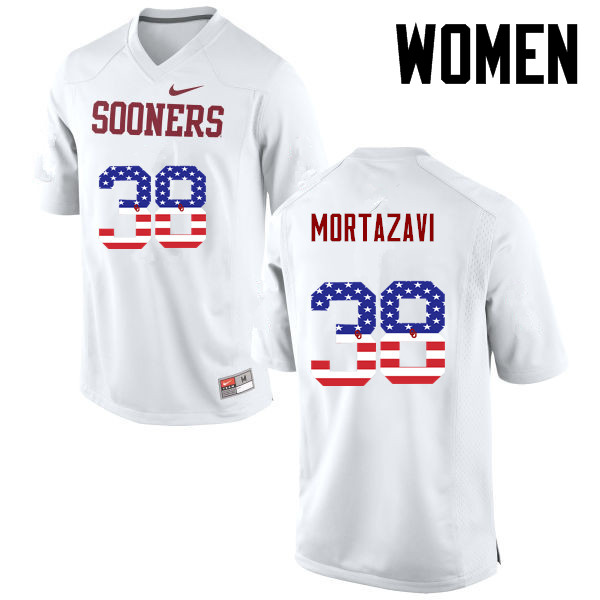 Women Oklahoma Sooners #38 Cameron Mortazavi College Football USA Flag Fashion Jerseys-White