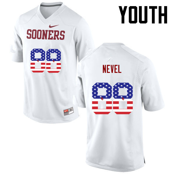 Youth Oklahoma Sooners #88 Chase Nevel College Football USA Flag Fashion Jerseys-White