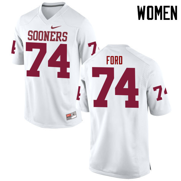 Women Oklahoma Sooners #74 Cody Ford College Football Jerseys Game-White