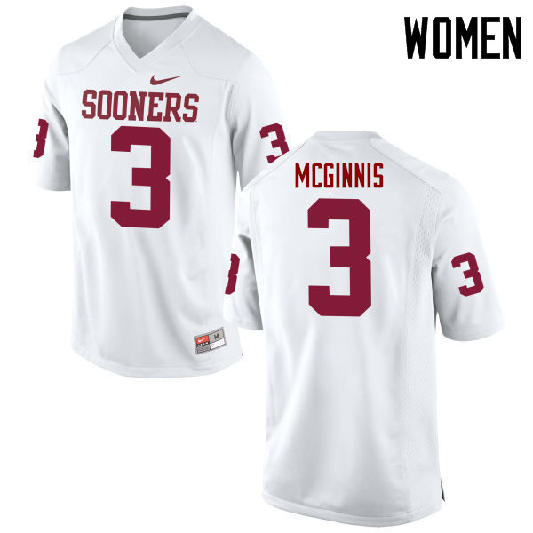 Women Oklahoma Sooners #3 Connor McGinnis College Football Jerseys Game-White