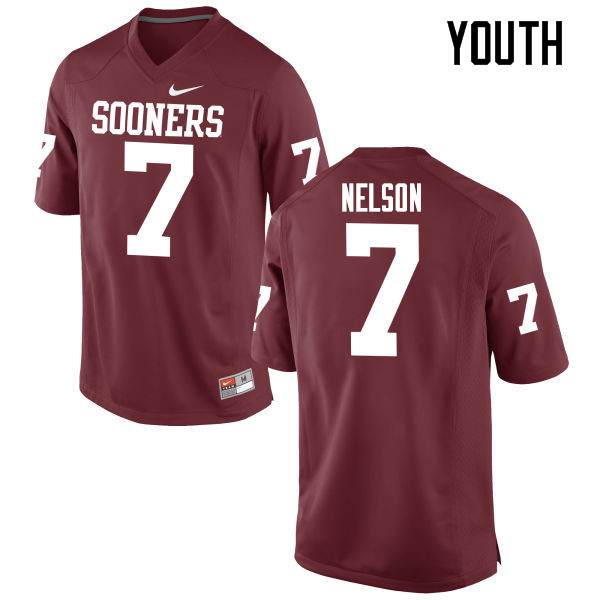 Youth Oklahoma Sooners #7 Corey Nelson College Football Jerseys Game-Crimson