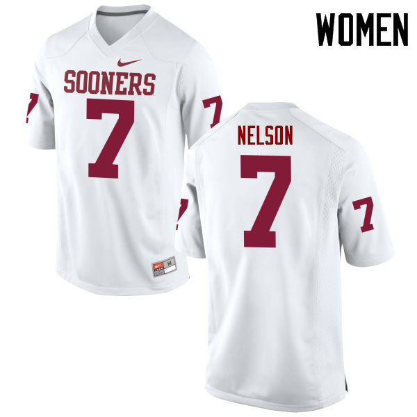 Women Oklahoma Sooners #7 Corey Nelson College Football Jerseys Game-White