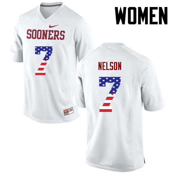 Women Oklahoma Sooners #7 Corey Nelson College Football USA Flag Fashion Jerseys-White