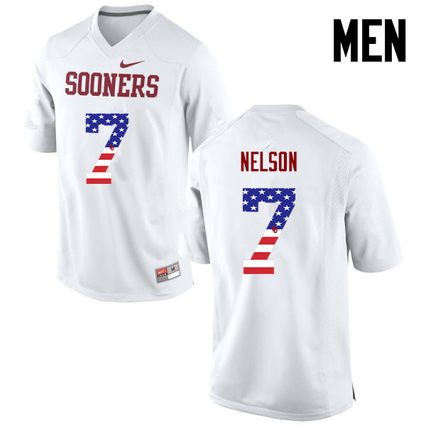 Men Oklahoma Sooners #7 Corey Nelson College Football USA Flag Fashion Jerseys-White