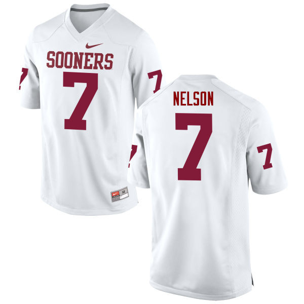 Men Oklahoma Sooners #7 Corey Nelson College Football Jerseys Game-White