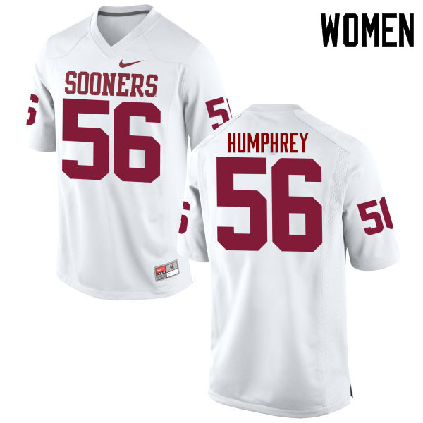 Women Oklahoma Sooners #56 Creed Humphrey College Football Jerseys Game-White