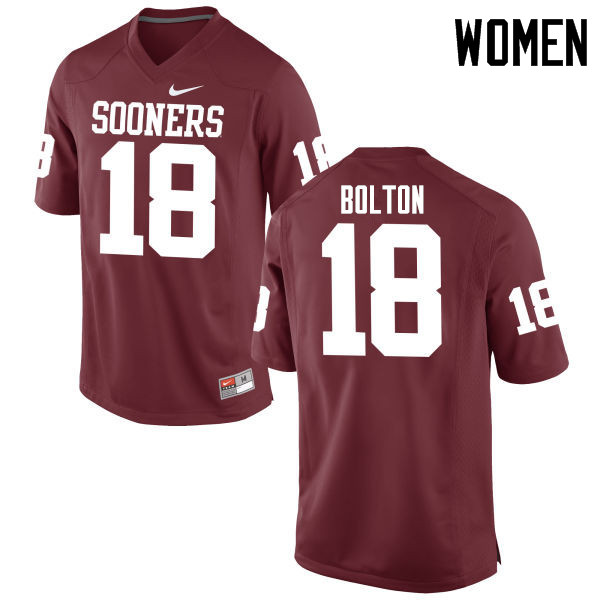 Women Oklahoma Sooners #18 Curtis Bolton College Football Jerseys Game-Crimson