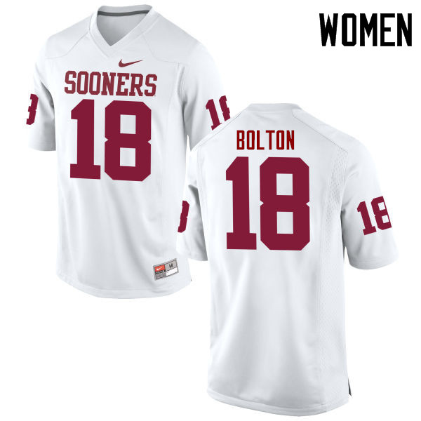 Women Oklahoma Sooners #18 Curtis Bolton College Football Jerseys Game-White