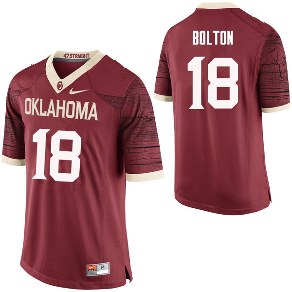 Men Oklahoma Sooners #18 Curtis Bolton College Football Jerseys Limited-Crimson