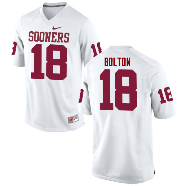 Men Oklahoma Sooners #18 Curtis Bolton College Football Jerseys Game-White
