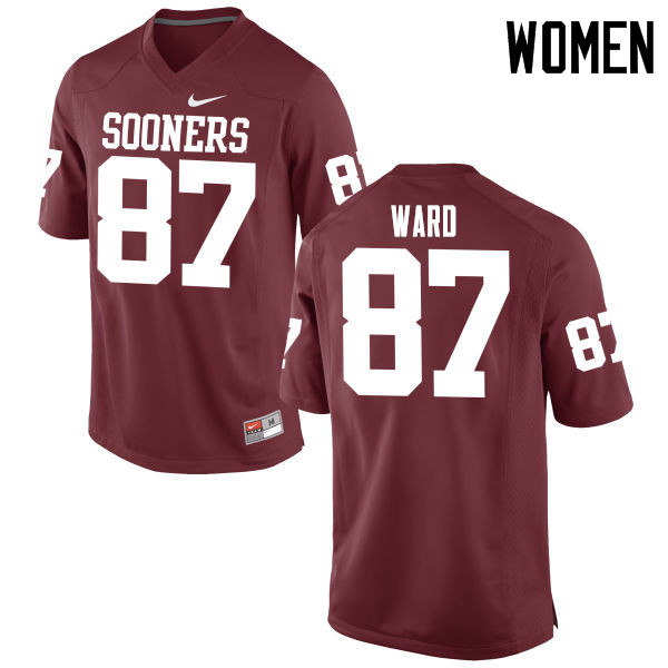 Women Oklahoma Sooners #87 D.J. Ward College Football Jerseys Game-Crimson