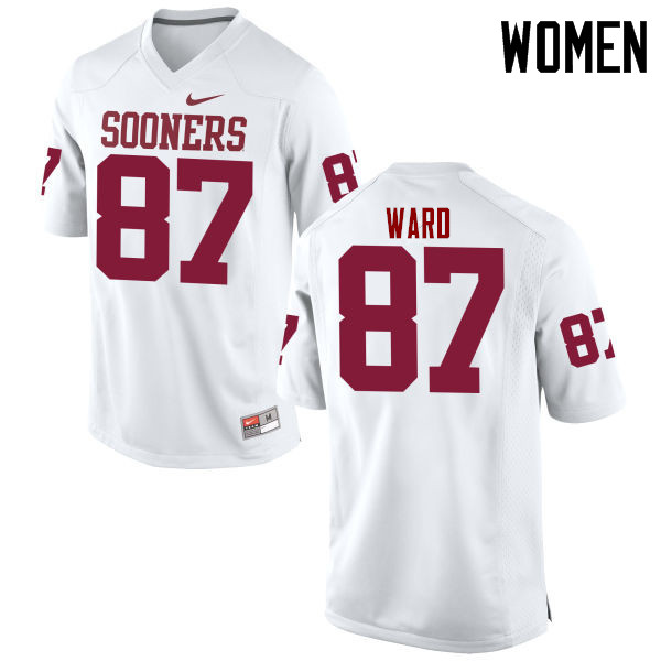 Women Oklahoma Sooners #87 D.J. Ward College Football Jerseys Game-White