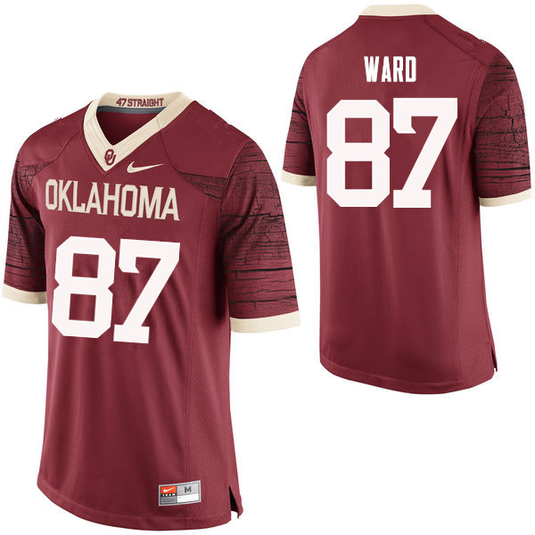 Men Oklahoma Sooners #87 D.J. Ward College Football Jerseys Limited-Crimson