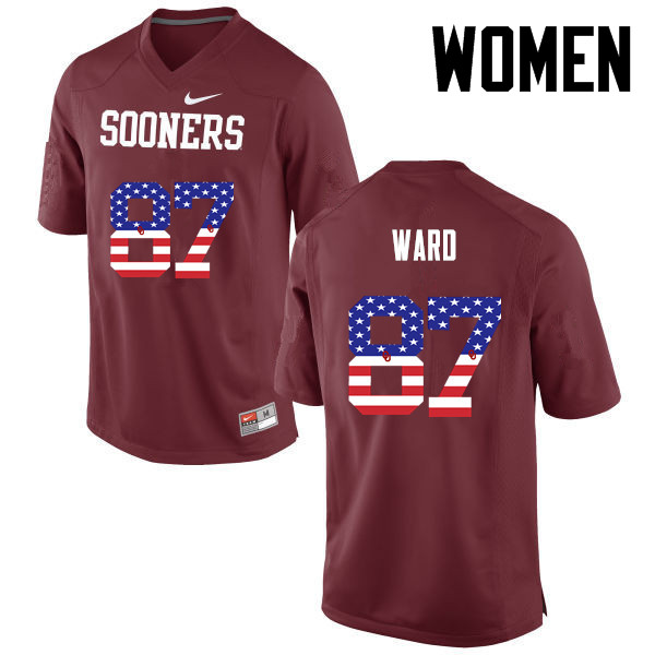 Women Oklahoma Sooners #87 D.J. Ward College Football USA Flag Fashion Jerseys-Crimson