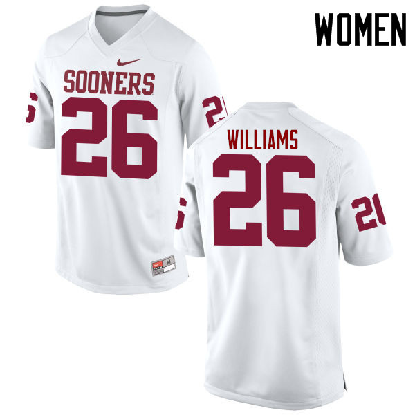 Women Oklahoma Sooners #26 Damien Williams College Football Jerseys Game-White