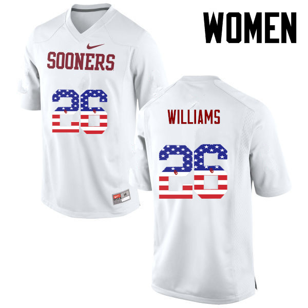 Women Oklahoma Sooners #26 Damien Williams College Football USA Flag Fashion Jerseys-White