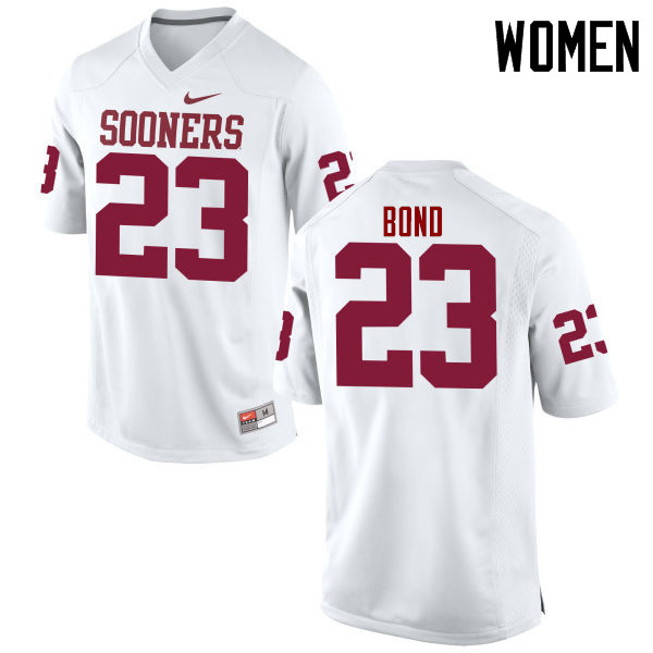 Women Oklahoma Sooners #23 Devante Bond College Football Jerseys Game-White