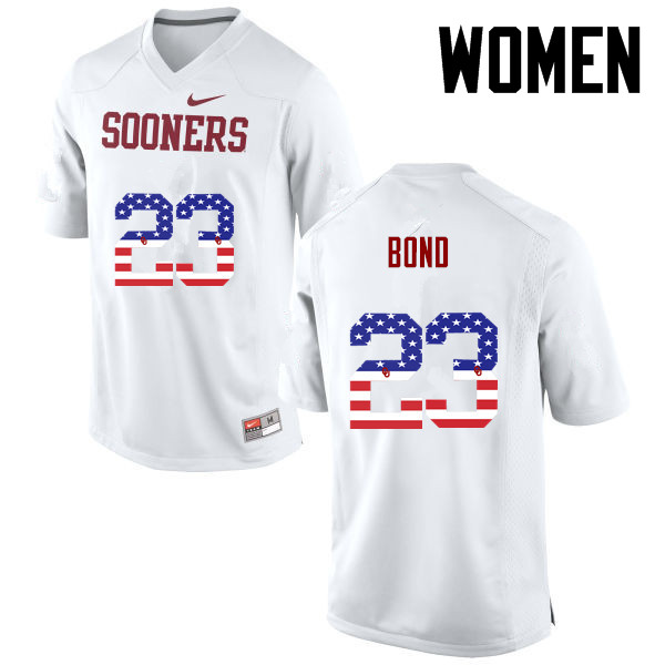 Women Oklahoma Sooners #23 Devante Bond College Football USA Flag Fashion Jerseys-White