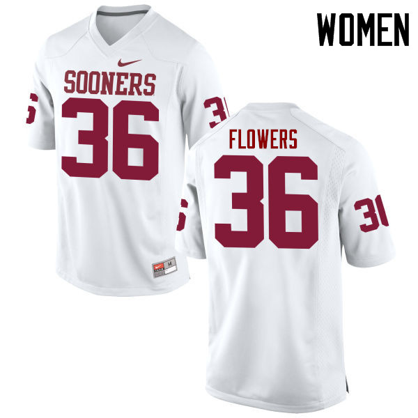 Women Oklahoma Sooners #36 Dimitri Flowers College Football Jerseys Game-White