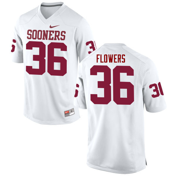 Men Oklahoma Sooners #36 Dimitri Flowers College Football Jerseys Game-White