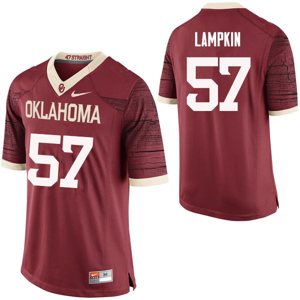 Men Oklahoma Sooners #57 DuVonta Lampkin College Football Jerseys Limited-Crimson