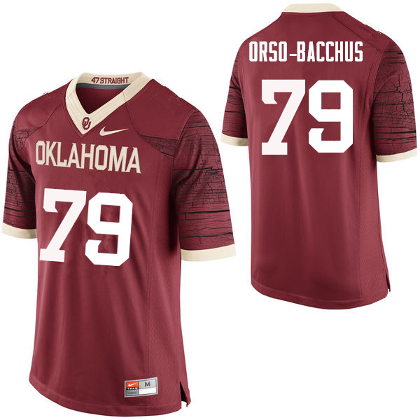 Men Oklahoma Sooners #79 Dwayne Orso-Bacchus College Football Jerseys Limited-Crimson